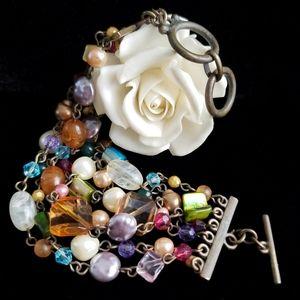 Jeweled Bracelet Multi-Strand Faux Gemstones Beads